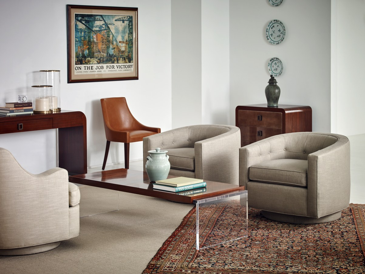 Bolier Co Objects Upholstered Dining Chair Walnut Acrylic Cocktail Table Hall Chest Console Contemporary