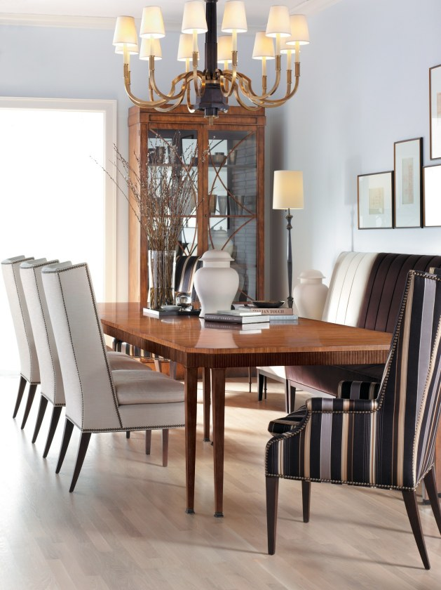 Hickory Chair Artisan Chamfered Dining Table Martin Host Side Arms Two Door Grand Cabinet Bistro Made to Measure Banquette