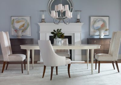 Highland House Hudson Dining Table Stanmore Chest Comer Penelope Chair Reed Large Chandelier Visual Comfort Thomas Obrien