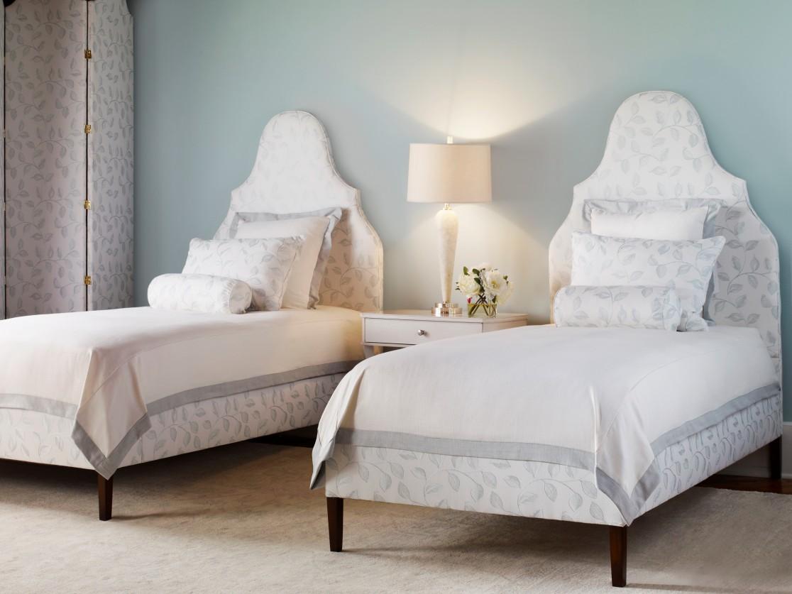 Highland House Upholstered Bed Chatham Headboard High End Furniture Charlotte Side Table